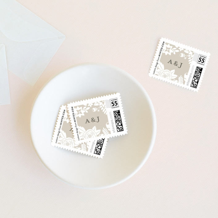 """Cherished"" - Floral & Botanical, Rustic Wedding Stamps in Latte by Sarah Brown."