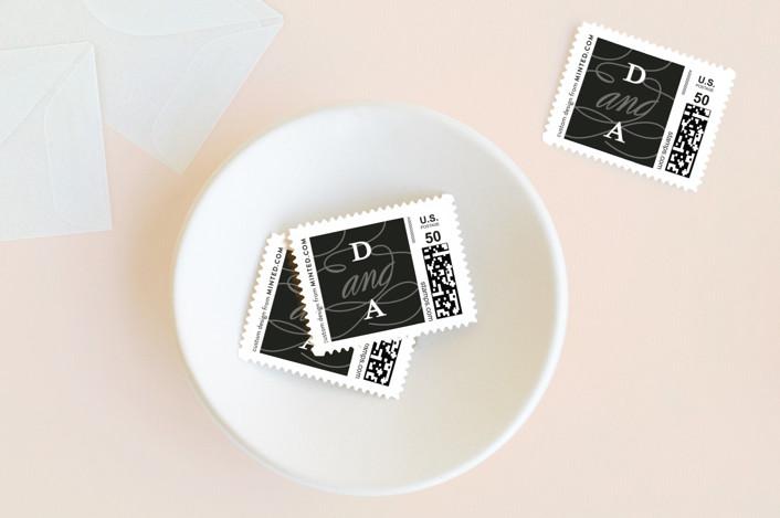 """Timeless"" - Elegant, Formal Wedding Stamps in Onyx by Sarah Brown."