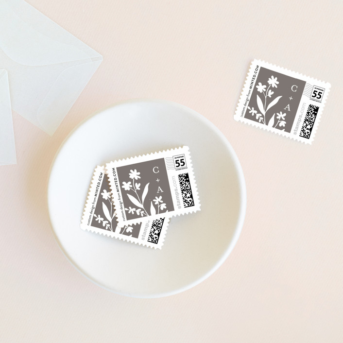 """""""A Field of Dreams"""" - Floral & Botanical Wedding Stamps in Warm Grey by Chris Griffith."""