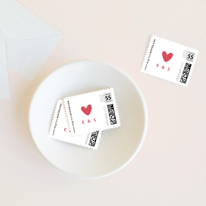 """""""Happy Heart"""" - Whimsical & Funny Wedding Stamps in Ruby by Christina Novak."""