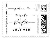This is a white wedding stamp by Jennifer Lew called Definitely with standard printing on adhesive postage paper in stamp.