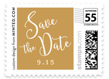 This is a gold wedding stamp by Nicole Barreto called Painted Romance with standard printing on adhesive postage paper in stamp.