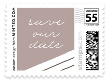 This is a brown wedding stamp by Pixel and Hank called Meet Us with standard printing on adhesive postage paper in stamp.