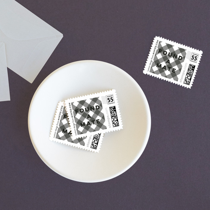 """""""Found a Mate"""" - Minimalist, Simple Wedding Stamps in Ink by Susan Brown."""
