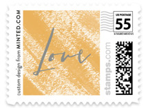 This is a yellow wedding stamp by Little Words Design called Toss the Dice with standard printing on adhesive postage paper in stamp.