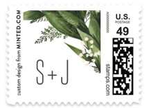 This is a green wedding stamp by Leah Bisch called Diamante with standard printing on adhesive postage paper in stamp.