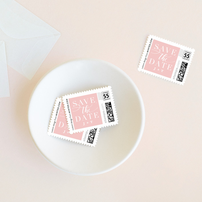 """Simply Best"" - Classical Wedding Stamps in Blush by Jessica Williams."