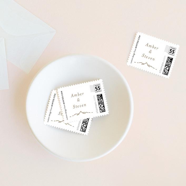 """Let the Adventure begin"" - Destination, Minimalist Wedding Stamps in Latte by Heather Francisco."