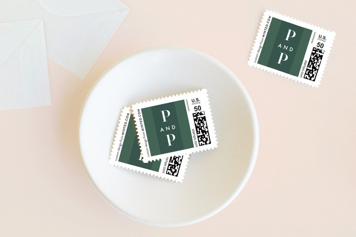 """Swank"" - Modern, Simple Wedding Stamps in Cactus by Lauren Chism."