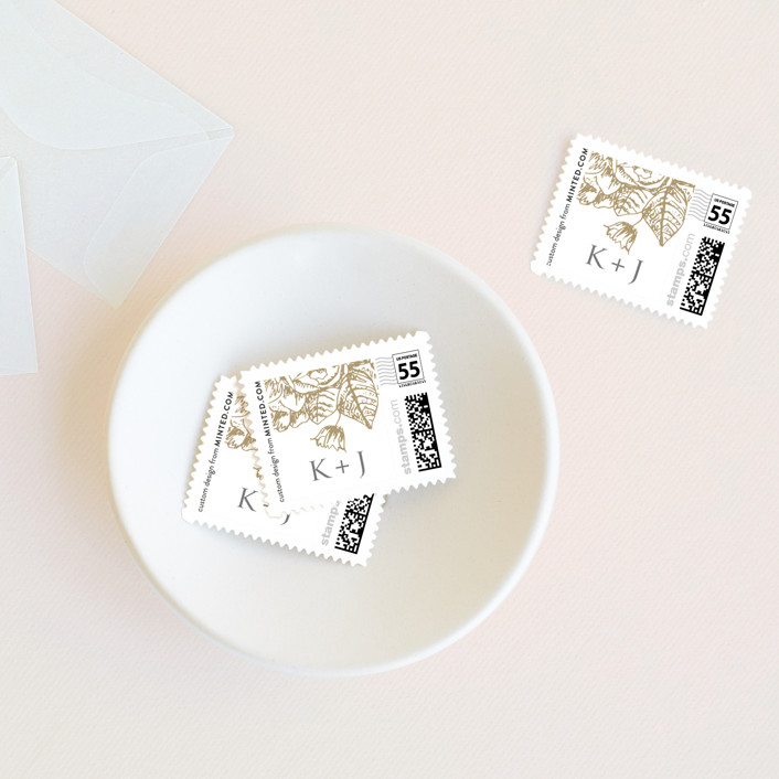 """""""Gilded Wildflowers"""" - Floral & Botanical Wedding Stamps in Latte by Smudge Design."""