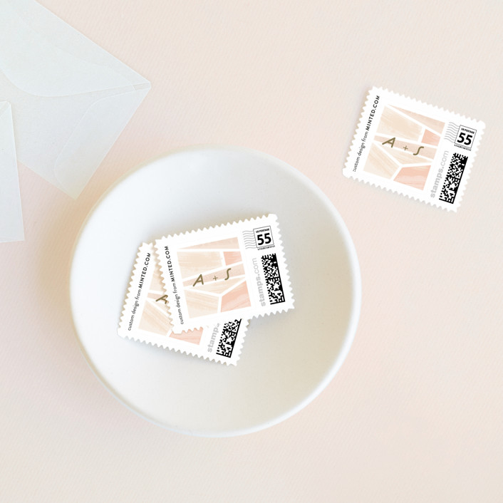 """""""Modern Angles"""" - Bold typographic Wedding Stamps in Blush by Rebecca Durflinger."""