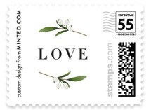 This is a black and white wedding stamp by Jennifer Postorino called Adorned Ampersand with standard printing on adhesive postage paper in stamp.