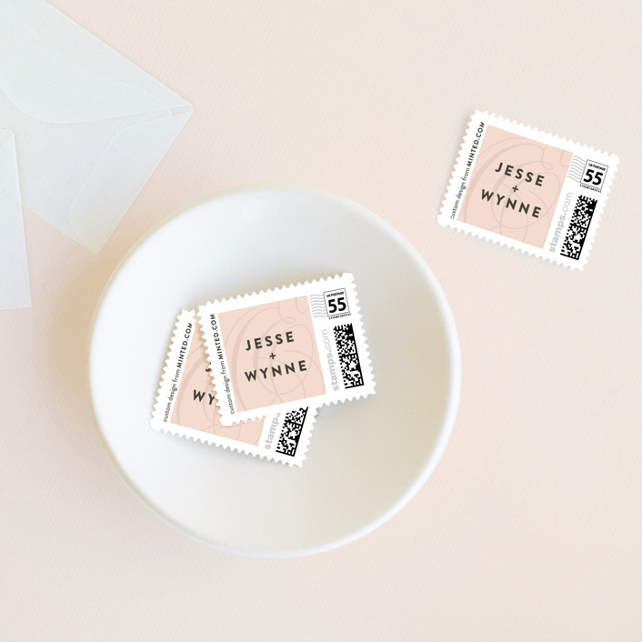 """Twirl Monogram A"" - Modern Wedding Stamps in Blush by Ariel Rutland."