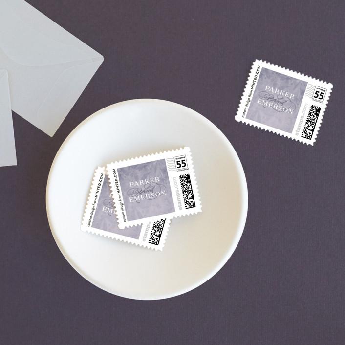 """subtle silhouette"" - Wedding Stamps in Smokey Lilac by Angela Marzuki."