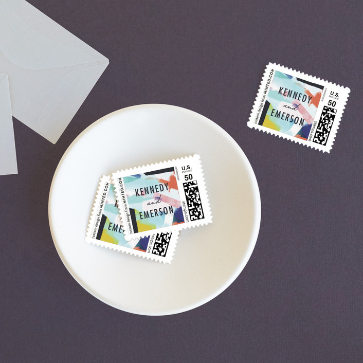 """""""Happy Day"""" - Modern Wedding Stamps in Carnival by Angela Marzuki."""