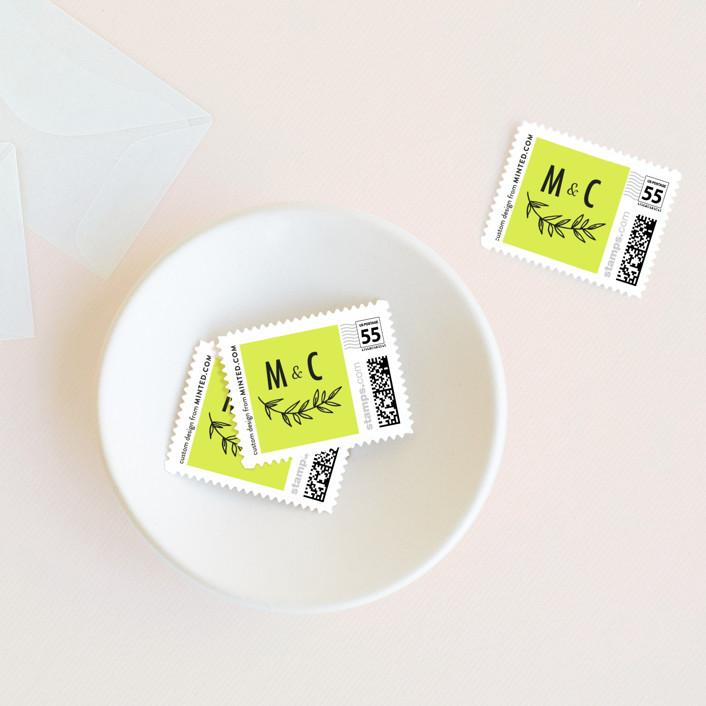 """minimally chic"" - Wedding Stamps in Lemon by lena barakat."