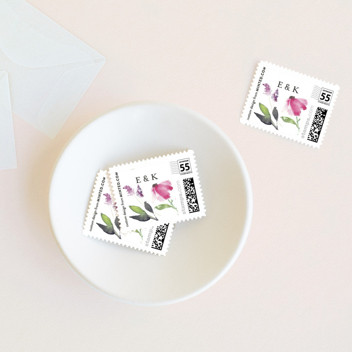 """""""Spring Wildflowers"""" - Wedding Stamps in Pink Floral by Mere Paper."""