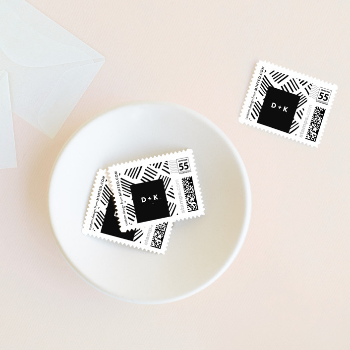"""""""Stable"""" - Modern Wedding Stamps in Noir by Roxy Cervantes."""