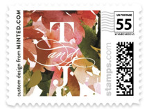 This is a orange wedding stamp by Lori Wemple called Eden with standard printing on adhesive postage paper in stamp.