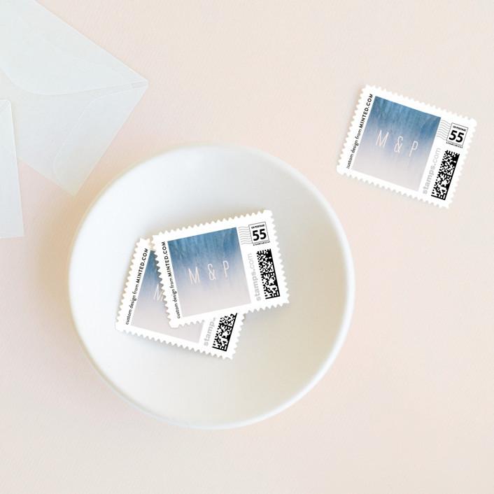 """Midsummer Night"" - Wedding Stamps in Ocean by Kaydi Bishop."