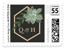 This is a black wedding stamp by Susan Moyal called Succulent Surround with standard printing on adhesive postage paper in stamp.