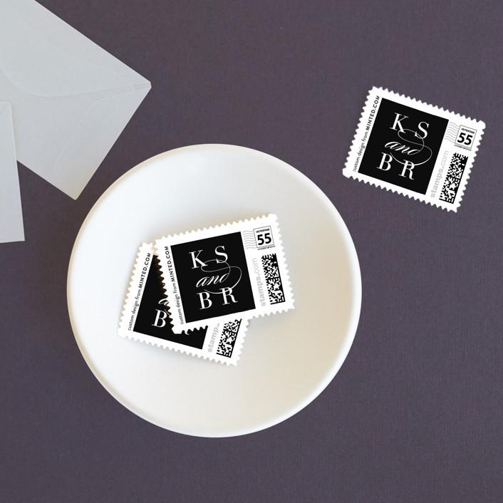 """Elegant Initials"" - Modern Wedding Stamps in Tuxedo by Kelly Schmidt."