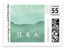 This is a green wedding stamp by Sara Hicks Malone called Love is Love with standard printing on adhesive postage paper in stamp.