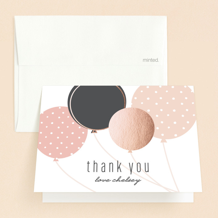"""""""Chic Balloons"""" - Modern Sweet Sixteen Party Thank You Cards in Rose by Melanie Severin."""