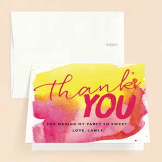 Sunset Sweet Sweet Sixteen Party Thank You Cards