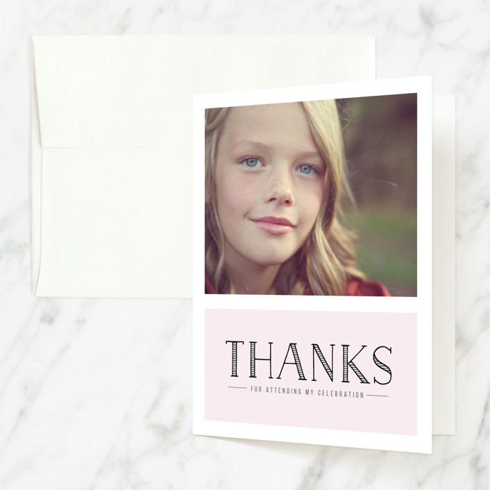 """Beautifully Sweet"" - Vintage Sweet Sixteen Party Thank You Cards in Blush by Christina Novak."