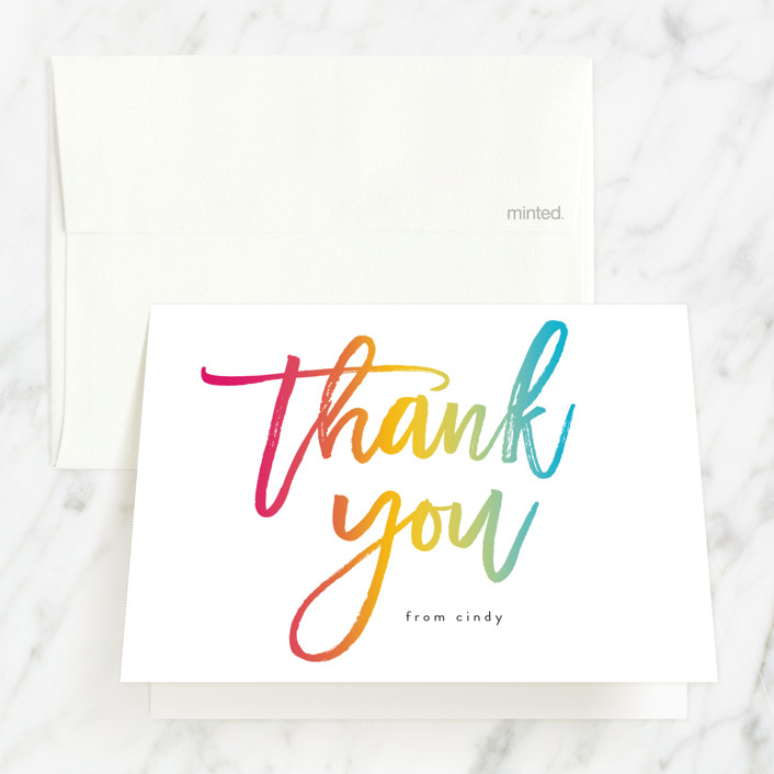 """""""Rainbow"""" - Modern Sweet Sixteen Party Thank You Cards in Rainbow by Catherine Culvenor."""