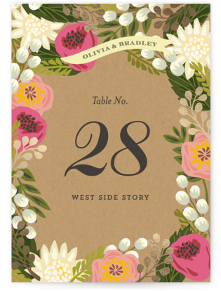 Floral Canopy Foil-pressed Table Numbers