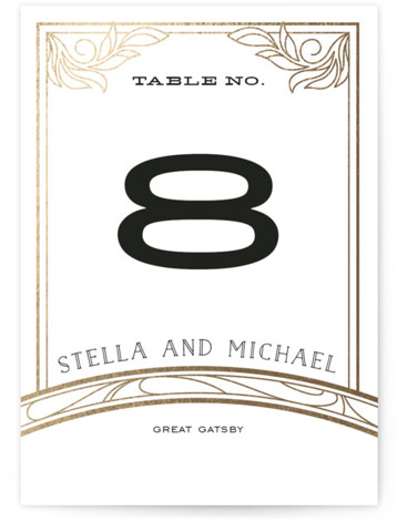 This is a portrait bold typographic, vintage, pink, rosegold Table Numbers by GeekInk Design called Antique Lines with Foil Pressed printing on Signature in Classic fold over (blank inside) format. Foil pressed table numbers enhance the look of your tablescape ...