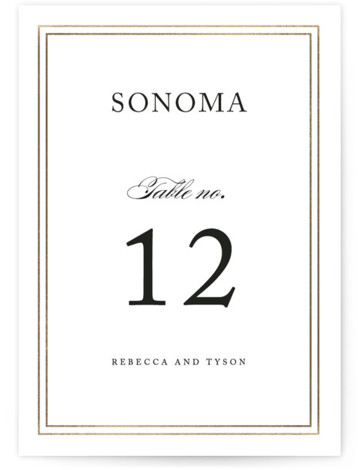 This is a portrait bold and typographic, classic and formal, classical, traditional, black and white, gold Table Numbers by Kimberly FitzSimons called Eloquence with Foil Pressed printing on Signature in Classic fold over (blank inside) format. Foil pressed table numbers ...
