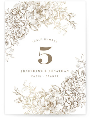 Engraved Flowers Foil-pressed Table Numbers