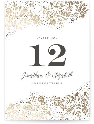 The Wedding Bouquet Foil-pressed Table Numbers