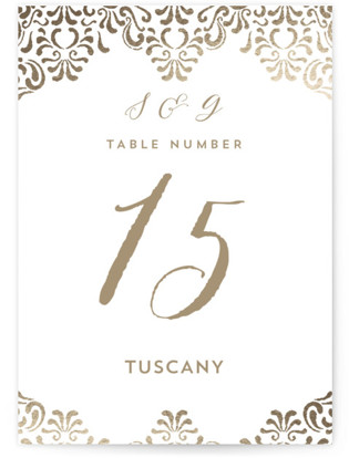 Black Tie Wedding Foil-pressed Table Numbers