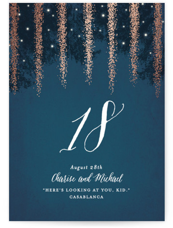 This is a portrait hand drawn, rustic, blue, rosegold Table Numbers by Hooray Creative called Strands Of Lights with Foil Pressed printing on Signature in Classic fold over (blank inside) format. Foil pressed table numbers enhance the look of your ...