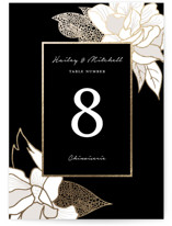 This is a black table number by Kaydi Bishop called Mod Kimono with foil-pressed printing on doublethick in standard.