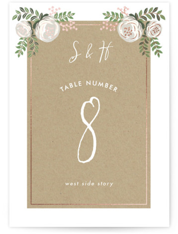 This is a portrait floral, pink Table Numbers by Lehan Veenker called Krafted Florals with Foil Pressed printing on Signature in Classic fold over (blank inside) format. Foil pressed table numbers enhance the look of your tablescape and put the ...