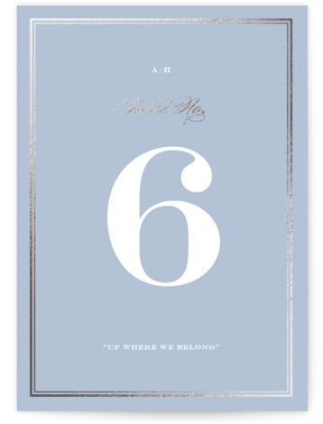 This is a portrait classic and formal, elegant, simple, simple and minimalist, blue, silver Table Numbers by Toast & Laurel called Field with Foil Pressed printing on Signature in Classic fold over (blank inside) format. Foil pressed table numbers enhance ...
