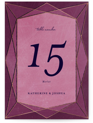 Abstract Jewel Foil-pressed Table Numbers