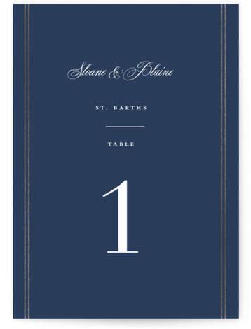 This is a blue Table Numbers by Carolyn MacLaren called Scripted Striped with Foil Pressed printing on Signature in Classic fold over (blank inside) format. Foil pressed table numbers enhance the look of your tablescape and put the finishing touch ...