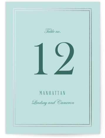 This is a portrait classic and formal, blue Table Numbers by Elly called Eternal Love with Foil Pressed printing on Signature in Classic fold over (blank inside) format. Foil pressed table numbers enhance the look of your tablescape and put ...