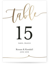 This is a gold table number by Paper Dahlia called Forever Love with foil-pressed printing on museum board in standard.