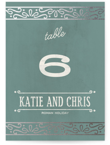 This is a portrait bold typographic, vintage, whimsical, green Table Numbers by GeekInk Design called Slated Forever with Foil Pressed printing on Signature in Classic fold over (blank inside) format. Foil pressed table numbers enhance the look of your tablescape ...