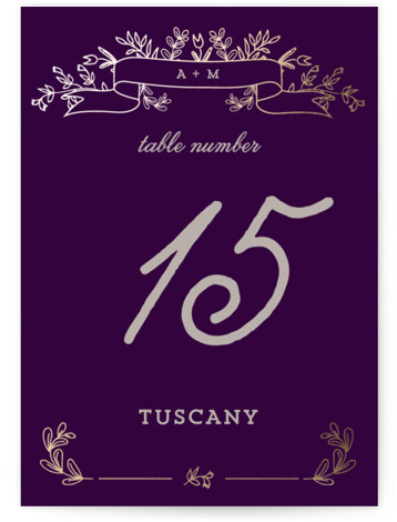 This is a portrait bold typographic, floral, monogrammed, purple, gold Table Numbers by Chris Griffith called Wedding Bouquet with Foil Pressed printing on Signature in Classic fold over (blank inside) format. A sketched floral monogram design with a sweet vintage ...
