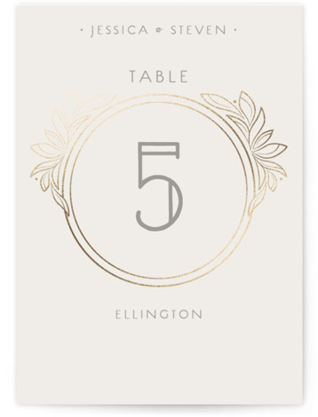 This is a portrait classical, elegant, vintage, grey, gold Table Numbers by GeekInk Design called Halcyon with Foil Pressed printing on Signature in Classic fold over (blank inside) format. Art Deco styled wedding invite featuring intricate linework and unique typography. ...