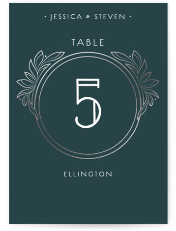 This is a portrait classical, elegant, vintage, blue, silver Table Numbers by GeekInk Design called Halcyon with Foil Pressed printing on Signature in Classic fold over (blank inside) format. Art Deco styled wedding invite featuring intricate linework and unique typography. ...