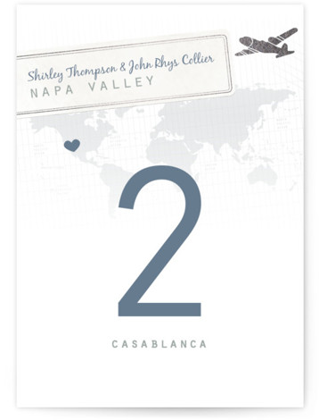 This is a portrait destination, whimsical, blue, silver Table Numbers by bumble ink called A Faraway Destination with Foil Pressed printing on Signature in Classic fold over (blank inside) format. I wanted to create something that could be customized moving ...